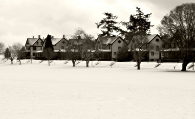 Officers Row at Fort Worden in the snow.