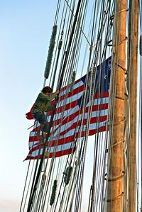 Crew member on the Tall Ship Lynx. Wooden Boat Fest 2006